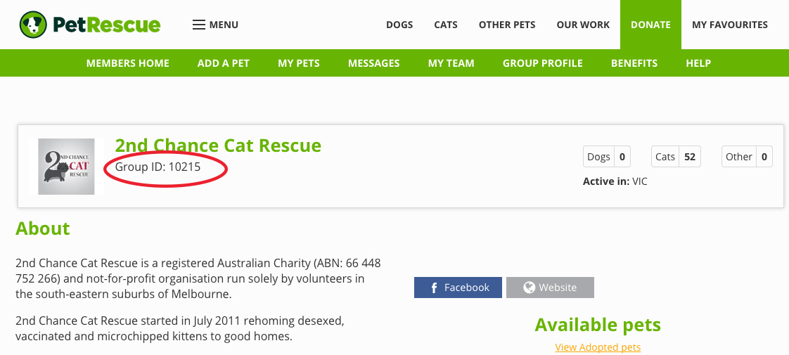 find petrescue group id number
